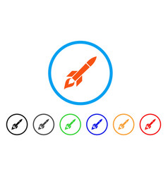 Missile flight rounded icon vector