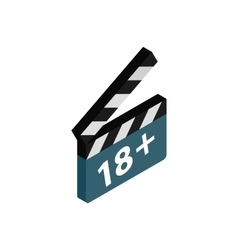 Movie clapper with rate 18 plus icon vector