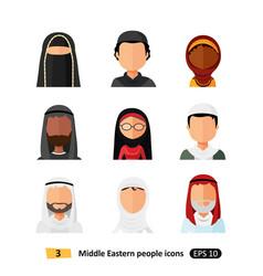 Muslim arab family avatars icons set flat style vector