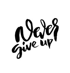never give up hand drawn modern brush lettering vector image
