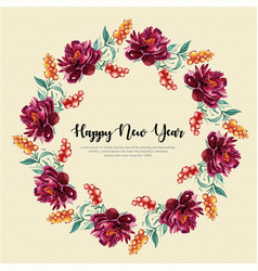 new year watercolor floral wreath vector image