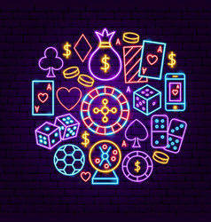 night casino neon concept vector image