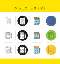 notepads icons set vector image