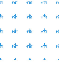 Old man with child icon pattern seamless white vector