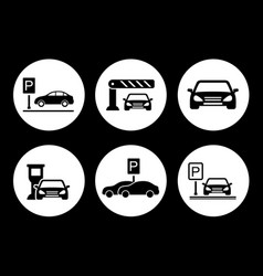 parking round icons set vector image