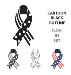 patriotic ribbon icon in cartoon style isolated on vector image