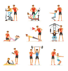 Personal gym coach trainer or instructor set vector