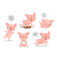 pigs hand drawn style cute funny characters vector image