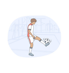 professional football player soccer ball sport vector image