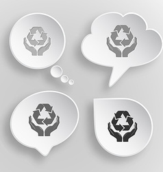Protection nature White flat buttons on gray vector image