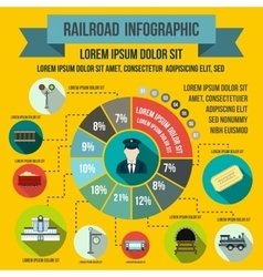 Railroad infographic elements flat style vector