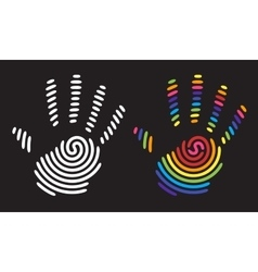 rainbow hand print vector image