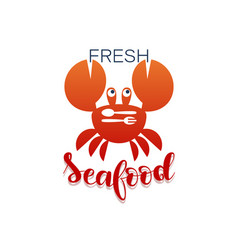 Red crab with fork and spoon fresh seafood vector