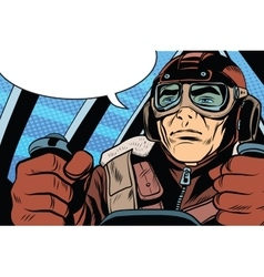 retro military Aviator pilot vector image
