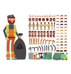 Sanitation worker man character creation vector