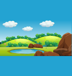 Scene with green mountains and little pond vector