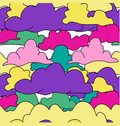 seamless pattern drawn colored clouds vector image