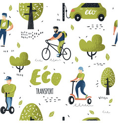 Seamless pattern with people riding eco transport vector