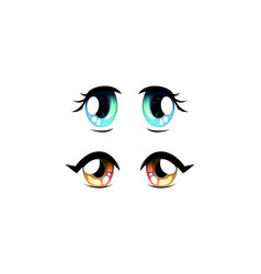 Set beautiful eyes with shiny light reflections vector