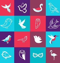 set bird logos vector image