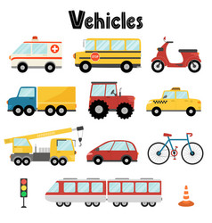 Set city transport with car bus crane vector
