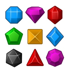 set multicolored gems for match3 games vector image