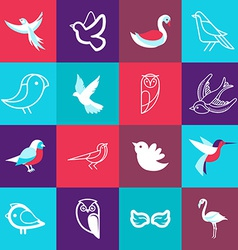 set of bird logos vector image