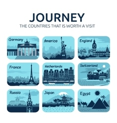 Set of flat travel icons with different countries vector image