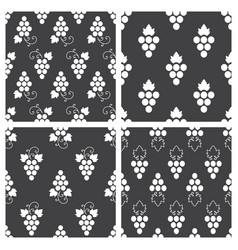 Set of monochrome seamless pattern of grapes vector