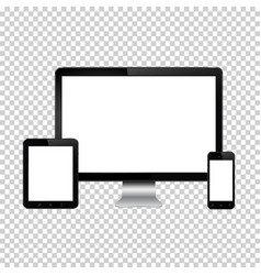 Set of realistic computer monitor digital tablet vector