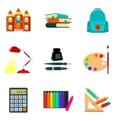Set of sketch style school icons and vector
