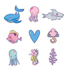 set sea animals cartoons vector image