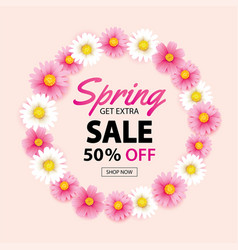 Spring sale circle wreath banner with blooming vector
