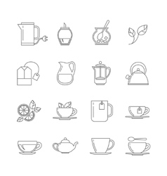 Tea thin line icons set vector image
