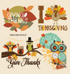 thanks giving cute set vector image