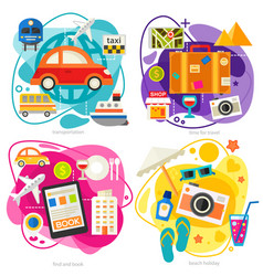 Time for travel concept trendy flat vector