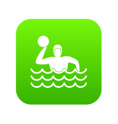 water polo icon digital green vector image