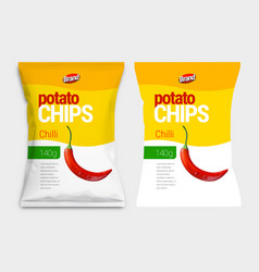 white realistic mockup for polyethylene bag chips vector image