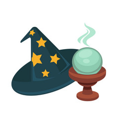 wizard hat with stars and magic glass ball vector image