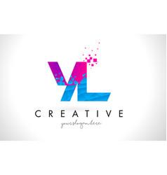 yl y l letter logo with shattered broken blue vector image