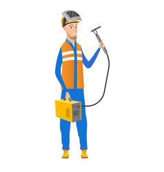 Young caucasian welder holding gas welding machine vector