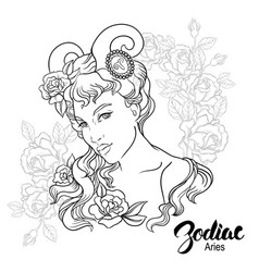 zodiac aries as girl vector image
