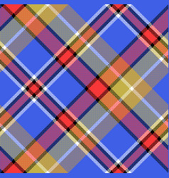 blue madras diagonal fabric texture pixeled vector image vector image