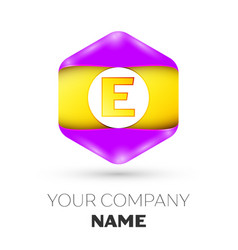 Letter e logo symbol in colorful hexagonal vector
