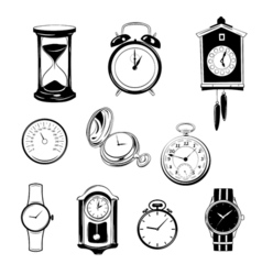 clock and watch collection black and white vector image vector image