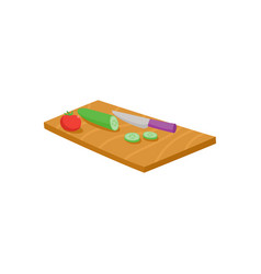 cutting board knife tomato and cucumber vector image