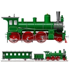 green steam locomotive with tender vector image