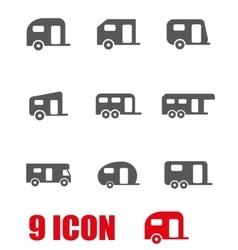 grey trailer icon set vector image vector image