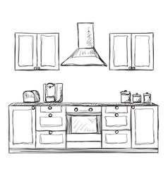 Kitchen cupboard shelves hand drawn vector image