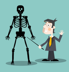 teacher with human skeleton vector image vector image